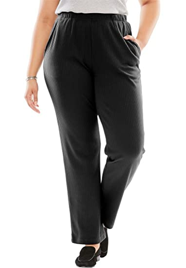56e62078eb6 Woman Within Plus Size 7-Day Knit Ribbed Straight Leg Pant at Amazon Women s  Clothing store