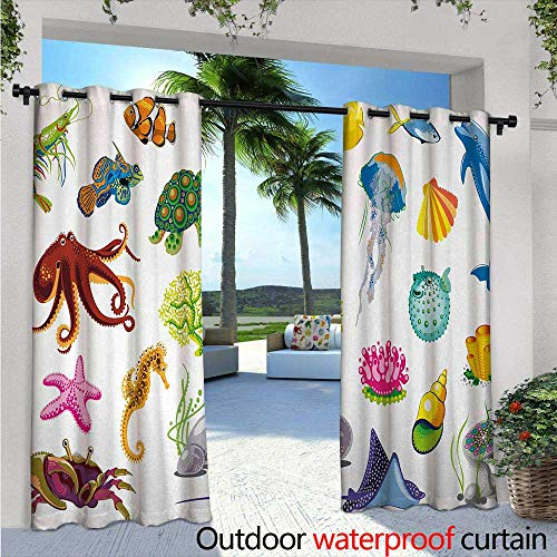 Stingray Basketball (BlountDecor Marine Patio Curtains W96 x L96 Sea Animals Octopus Dolphin Shells Stingray Crab Turtle Jellyfish Wildlife Graphic Outdoor Curtain for Patio,Outdoor Patio Curtains Multicolor)