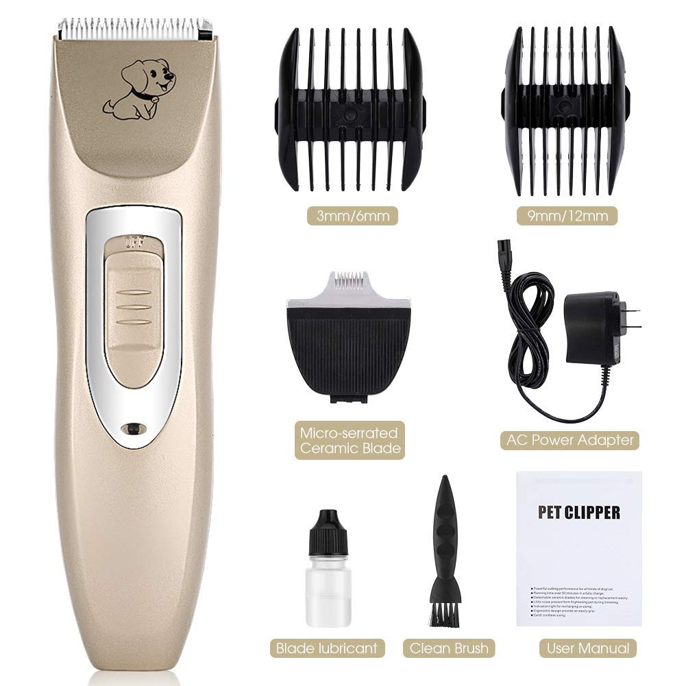 Dog Clippers Kit Rechargeable Dog Grooming Clippers and Cordless Pet Clippers Suitable Dogs, Cats and Other Animals, Eyes, Face, Ears, Paw, Around Rump (gold)