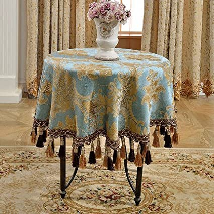 Luxury Round Tablecloth 70 Inch European Style Chenille Table Cloth Round  55 Inch Blue Tablecloths For