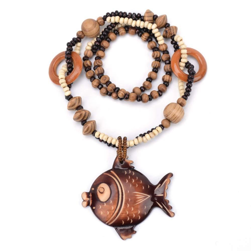 Driverder Exquis et Beau Collier Cha/îne de Perles en Bois sculpt/é Femmes Bohemian Retro Collier Long Pull V/êtements Accessoires-Poissons