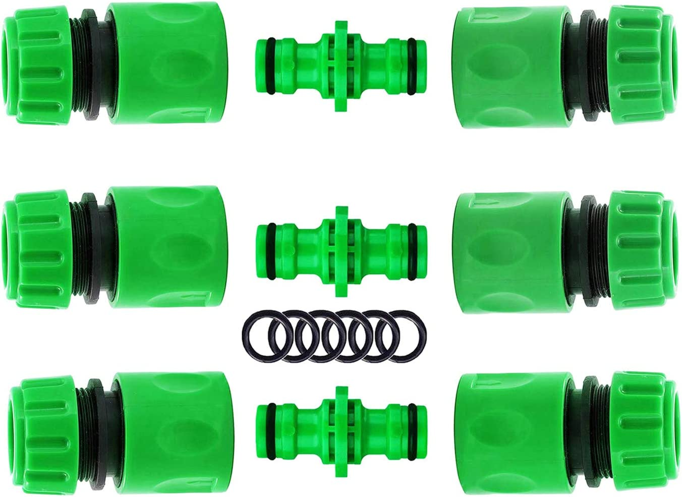 Double Male 6pcs + Y Male Connector 1pcs CaLeQi 1//2 inch Hose Repair Connector Extender for Join 1//2 inch Garden Hose Pipe and House Water Pipes Quick Repair Connection