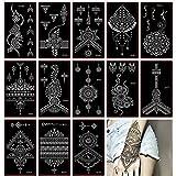 Henna Tattoo Stencil/Glitter Temporary Tattoo Temples Set of 30 Sheets,Indian Henna Tattoo Sticker Kit For Body Art Painting