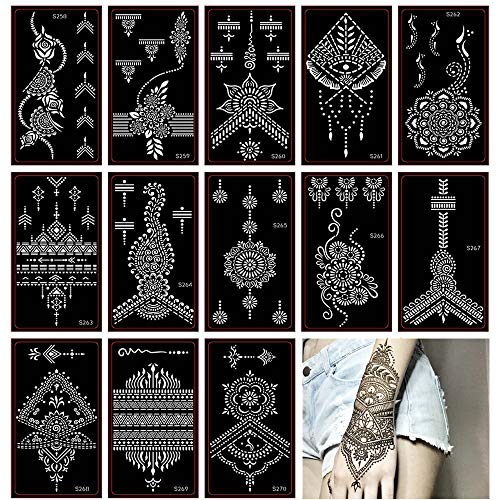 Henna Tattoo Stencil/Glitter Temporary Tattoo Temples Set of 30 Sheets,Indian Henna Tattoo Sticker Kit For Body Art ()