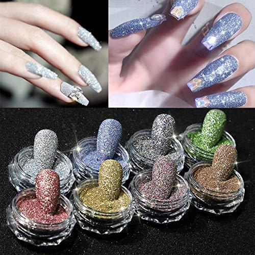 8 colours Mini Crystal Rhinestones Nail Art Set, 8 Bottles three-D Iridescent Diamond Shining Gems Stones Jewels for Nails Art DIY, Face, Make Up, Phones Decorations(Gel Glue Need)