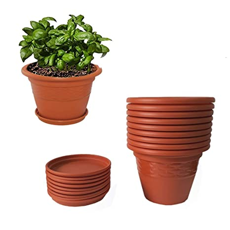 Asfa Deals Plastic Round Planter Pot 10 inch with Bottom Tray (Pack of 6) Colour - Terracotta