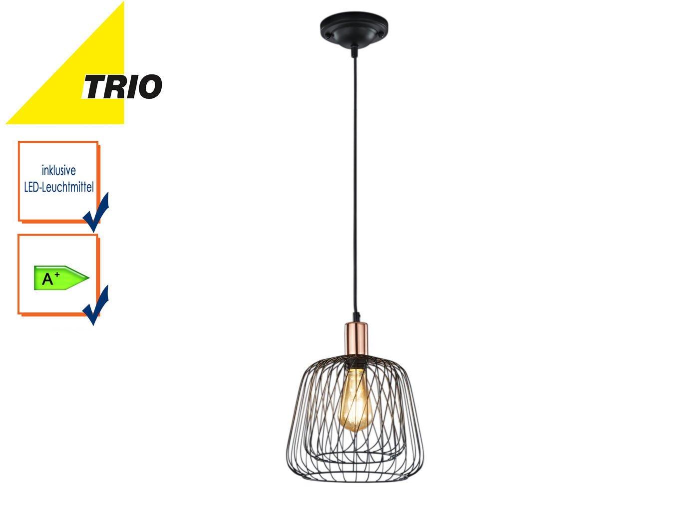 Vintage Pendelleuchte mit Filament LED, Drahtkorb, Schwarz / Kupfer ...