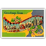 GREETINGS FROM MASSACHUSETTS vintage reprint postcard set of 20 identical postcards. Large letter US state name post card pack (ca. 1930's-1940's). Made in USA.