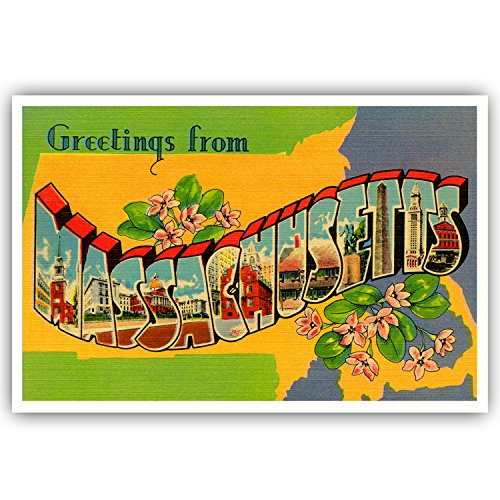 GREETINGS FROM MASSACHUSETTS vintage reprint postcard set of 20 identical postcards. Large letter US state name post card pack (ca. 1930's-1940's). Made in USA. - Massachusetts Vintage Postcard