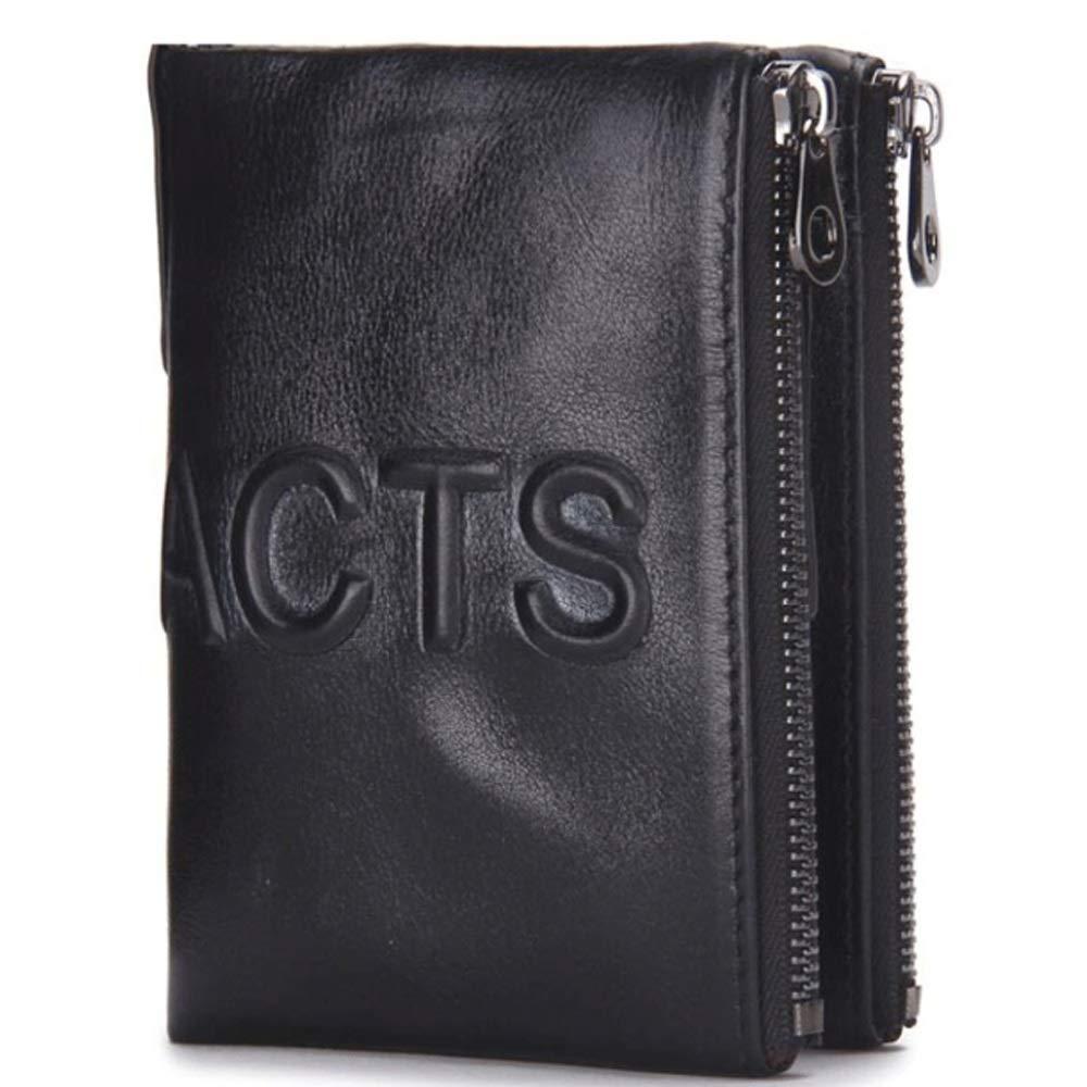 Mens Wallet Leather Short Clutch Bag Double Zip Coin Purse Color : Black, Size : S