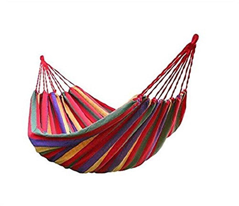 BeiLan Camping Hammock Canvas Stripe Swinging letto portatile esterna Backpacking Viaggi Giardino Patio Spiaggia Yard Tempo libero Amache ultraleggero con il sacchetto (190*150cm, Rosso) ODS-208