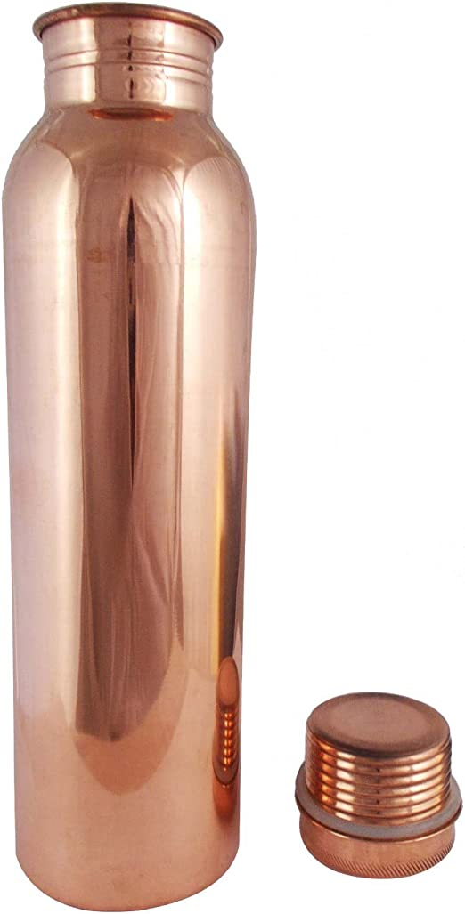 Pure Copper Yoga Water Bottle or Thermos Flask 32oz Capacity with 99.5/% Purity