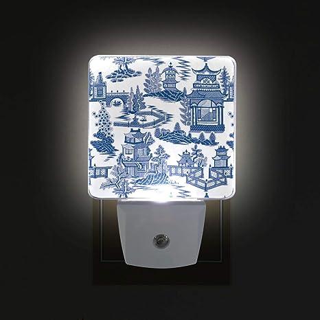 d8f4c895de52 Ming China Chinoiserie LED Night Lights with Auto Dusk to Dawn Sensor, Plug-in  Warm White Lamp for Nursery Hallway Kids Room - - Amazon.com