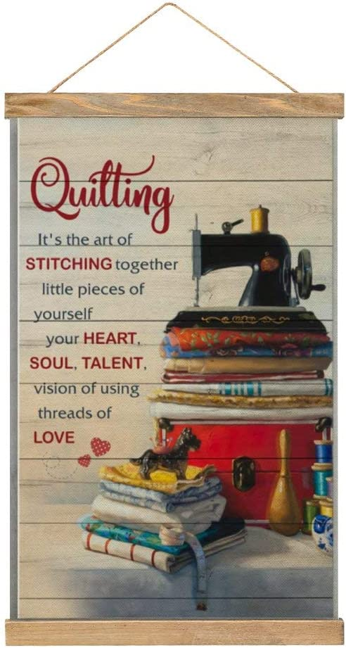 Hanging Poster Colorful Wall Art Painting Sewing Machine Quilling Its The Art of Stitching Together Printed On Linen Canvas,with Scroll Teak Wood Hanger for Home Decoration Wall Decor