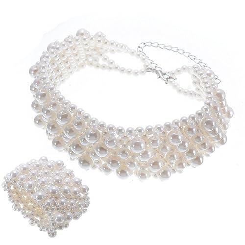 Jerollin Collier Femme Fantaisie Ras De Cou Et Bracelet De Perle
