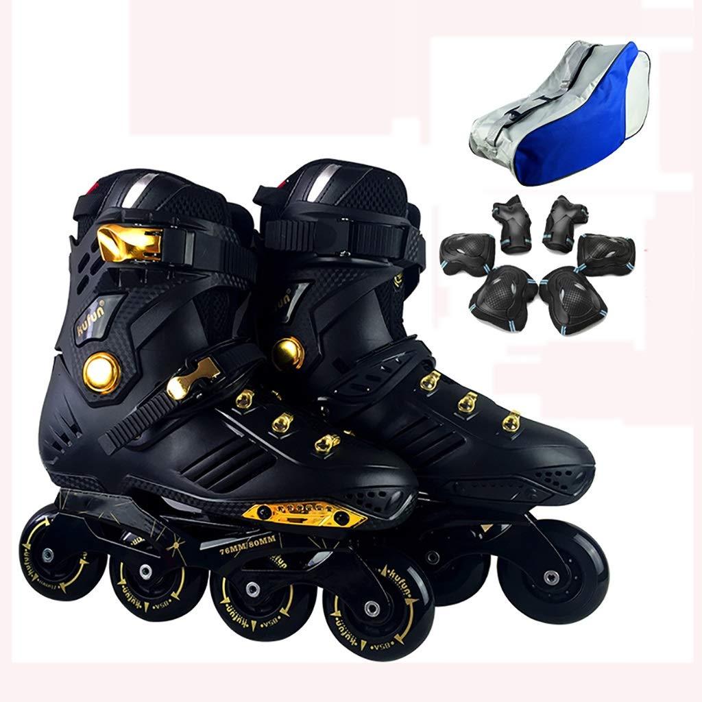 インラインローラースケート大人のフィットネスローラーブレード 光るタイヤ ロ 安全で丈夫な青年屋外レーシングスケート+ローラーバッグ +保護ギア (Color : 黒, Size : EU 41/US/8/UK 7/JP 25.5cm) 黒 EU 41/US/8/UK 7/JP 25.5cm