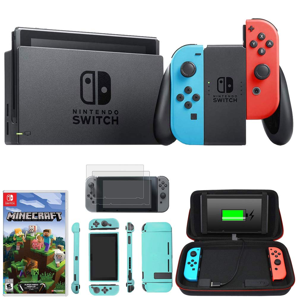 Nintendo Switch 32 GB Console w/Neon Blue and Red Joy-Con (HACSKABAA) Switch Minecraft + Charging Case w/Built-in Stand (10000mAh Battery) + 2-Pack Screen Protector + Protective Skin