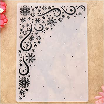 Merry Christmas Snowflake Snowfall Plastic Embossing Folders for Card Making Scrapbooking or Paper Crafts