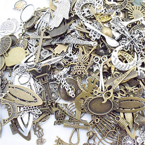JIALEEY 100 Gram Wholesale Bulk Lots Jewelry Making Assorted Charms Pendants DIY for Necklace Bracelet Jewelry Making Crafting