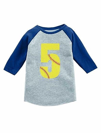 Tstars Birthday Gift 5 Year Old Softball Lover 3 4 Sleeve Baseball Jersey Toddler Shirt
