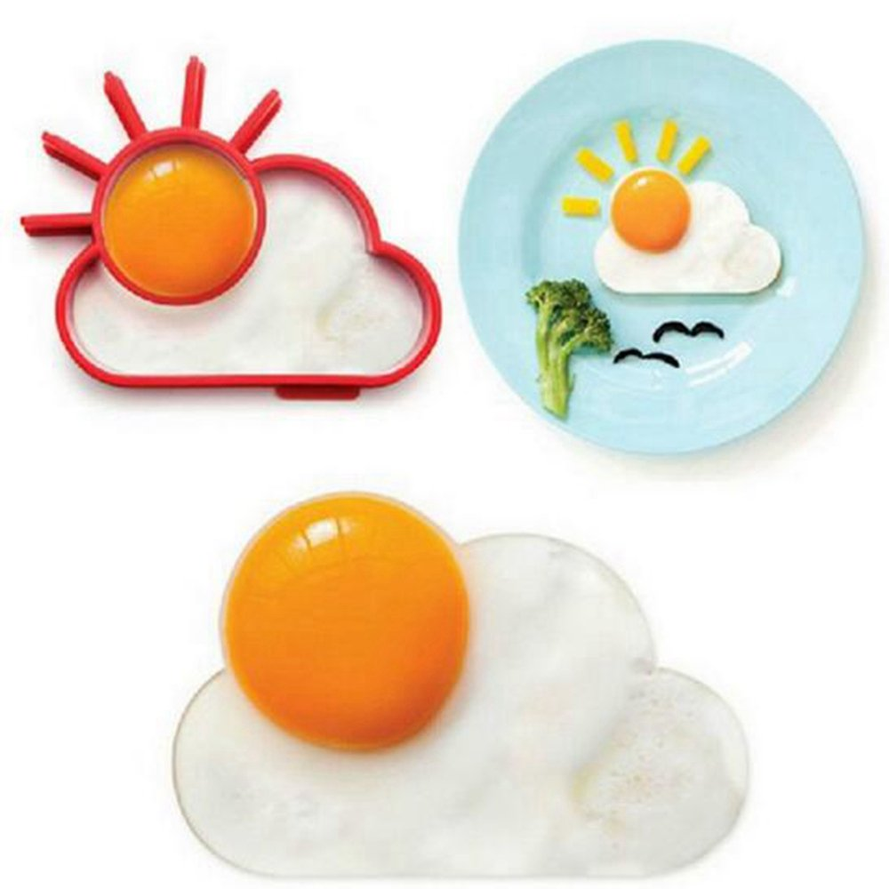 Perfectii Silicone Mirror Egg Shape, Nonstick Silicone Egg Former Pancake Form for Children Family