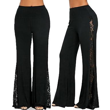 bb95bd69987d LIN Hohe Taille Spitze lose breite Beinhosen Mode Damen Hohe Taille Spitze  Einfügen Breites