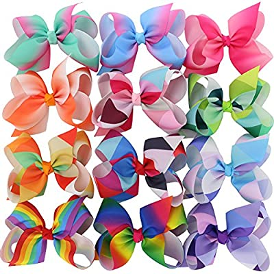 Chiffon Larger Grosgrain Ribbon Boutique Rainbows Hair Bows Clips For Baby Girls Teens Gifts Set Of 12