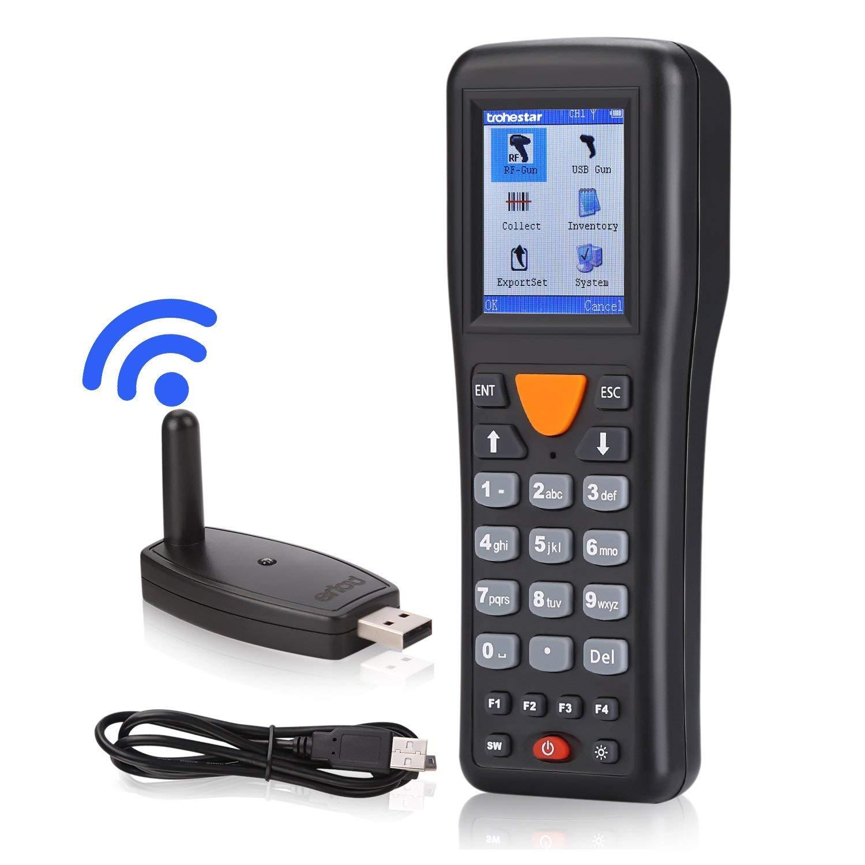 Trohestar Lettore di Codici a Barre Wireless, 433Mhz 1D Barcode Scanner con Ricevitore USB con Schermo a Colori TFT LCD, Portata 100 m.
