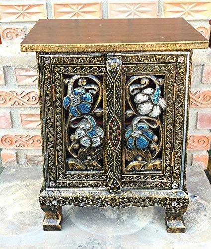 Thai Antique Handmade Furniture Flower Gold and Glass Storage Cabinet/Nightstand, Home Decor, 20''H x 10''W x 15''L. Thailand Work Art By WADSUWAN SHOP. by WADSUWAN SHOP