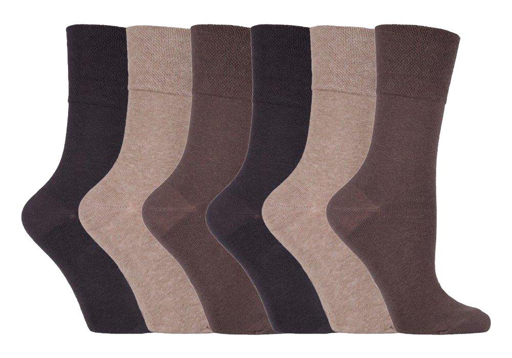 IOMI Footnurse - Ladies 6 pack loose non elastic diabetic socks with hand linked toe seams 4-8 uk Beige