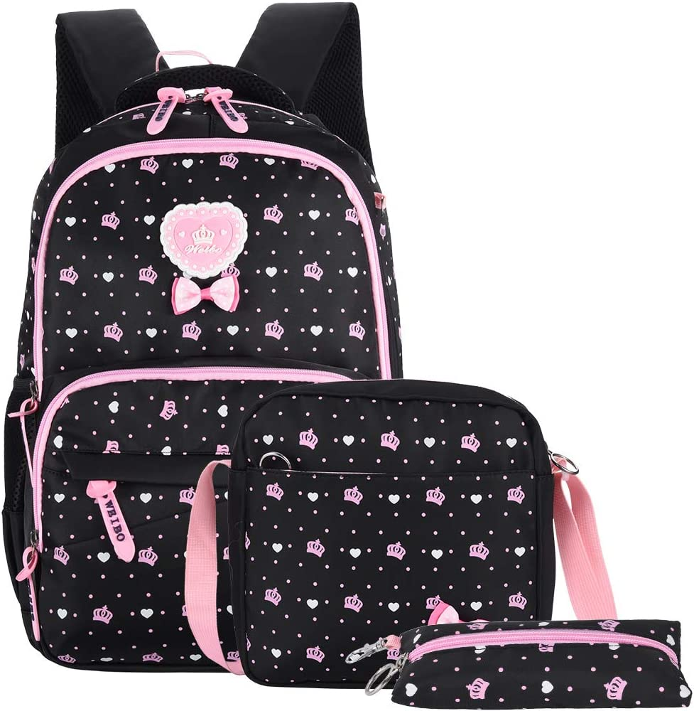 School Backpack for Girls, VBG VBIGER Kids Schoolbag, Student Shoulder Backbag Set for Primary School & Middle School Student, Black