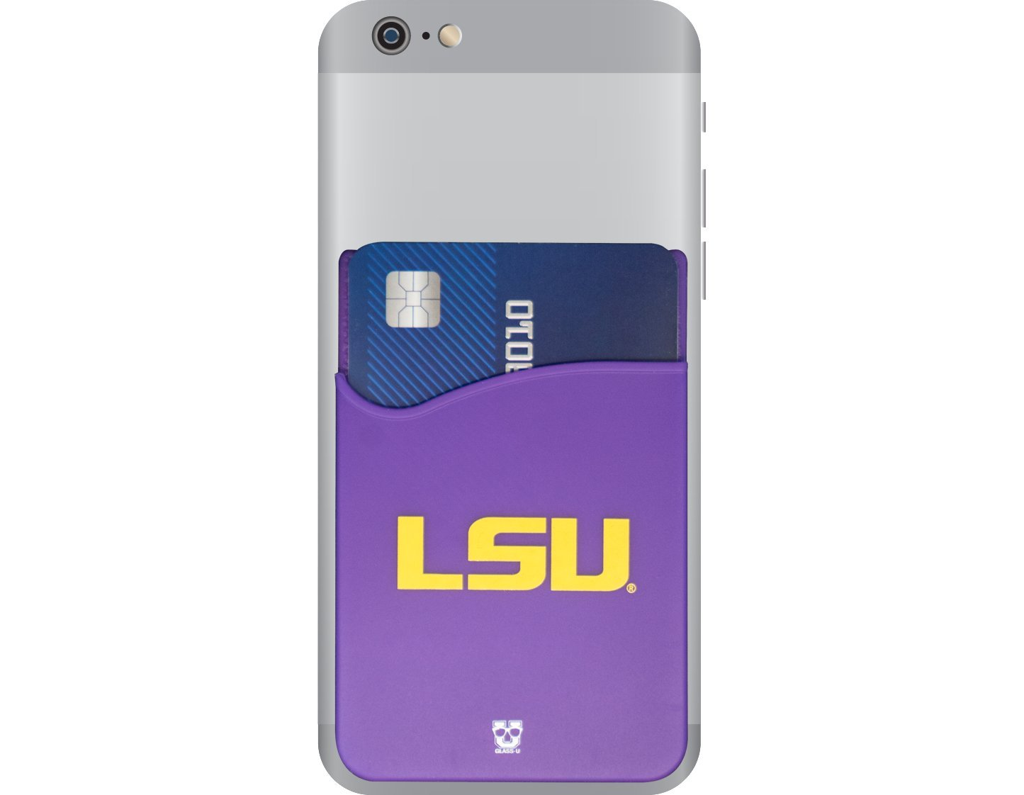 LSU Tigers Adhesive Silicone Cell Phone Wallet/Card Holder for iPhone, Android, Samsung Galaxy, Most Smartphones