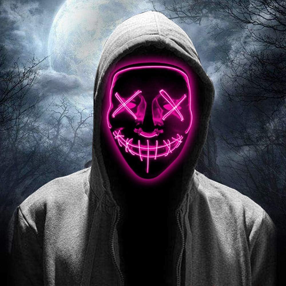 Amarillo Carnavales Mascaradas JCT Halloween LED M/áscaras Purga Grimace Mask Horror Mask Scary LED Ilumina M/áscaras para Halloween Fiestas de Disfraces Regalos For Adultos Infantiles