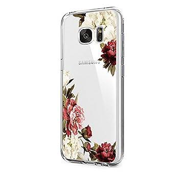 Pacyer Case kompatibel mit Galaxy S6 / S6 Edge / S6 Edge Plus Hülle transparent Silikon Ultra dünn Cooler grüne Blätter Wolf