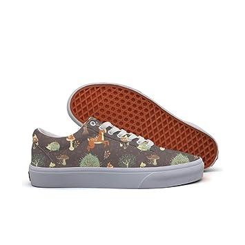 Womens Skateboarding Shoes Canvas Deer Hedgehog Pattern Sport Sneaker