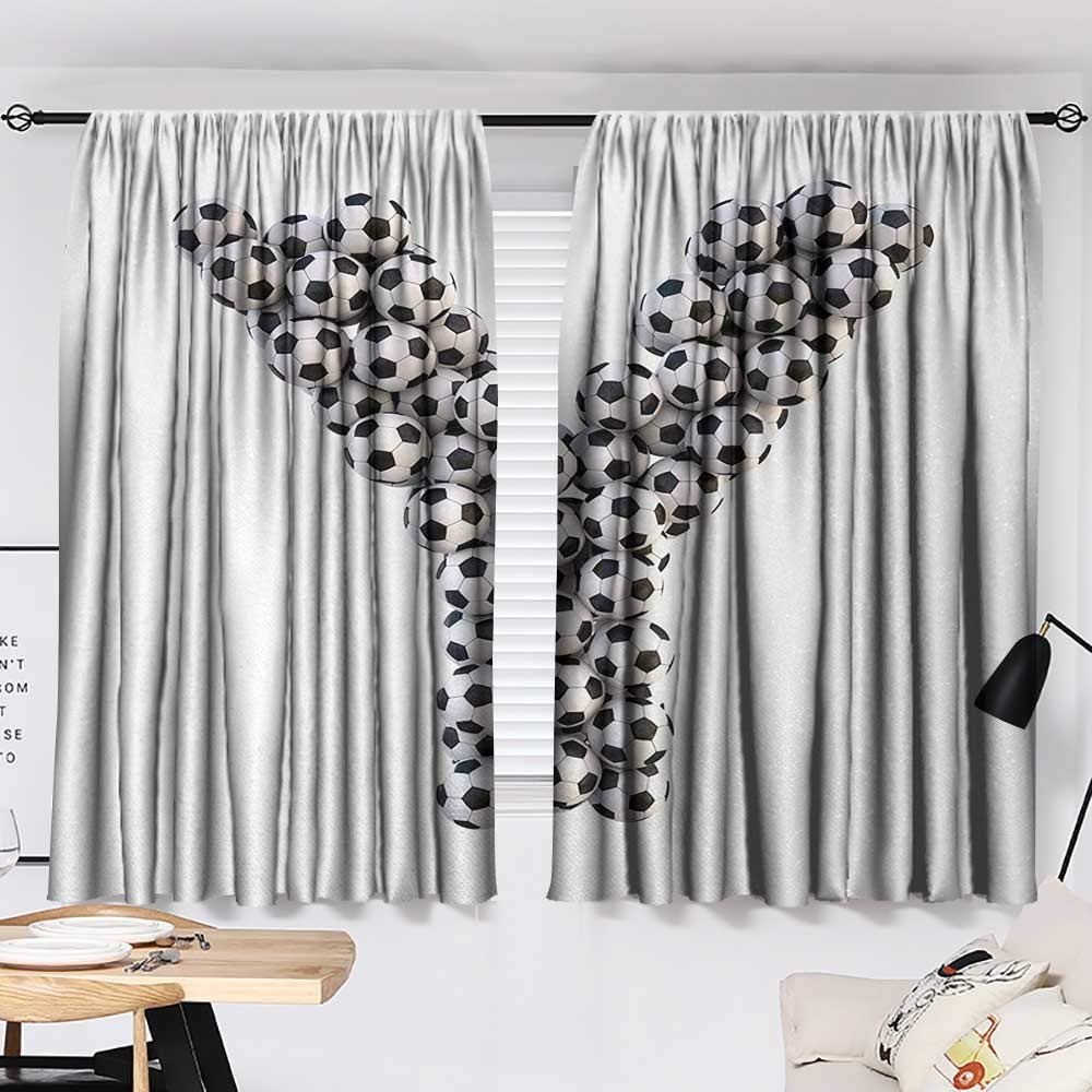 Jinguizi Letter Y Darkening/Blackout Symbol of The Y Letter in The Form of Monochrome Soccer Balls Graphic Design Room Darkening Curtains Black and White W72 x L45 by Jinguizi (Image #2)
