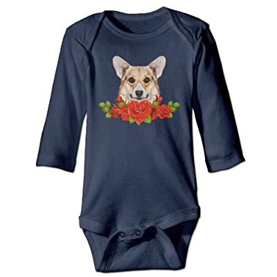 7r4e Baby Corgi Dog Rose Toddler Cotton Joys Romper Long Sleeve Bodysuit