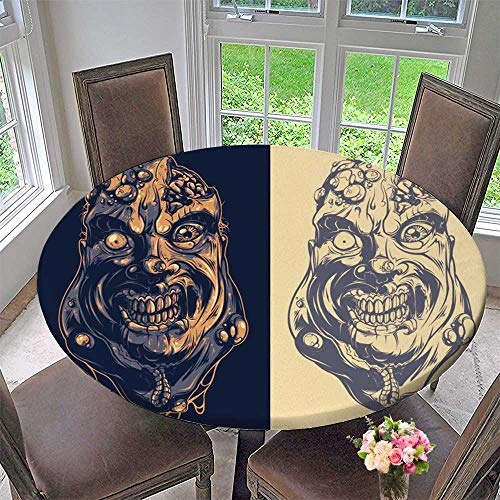 Luxury Round Table Cloth for Home use Fat Zombie for Buffet Table, Holiday Dinner 47.5