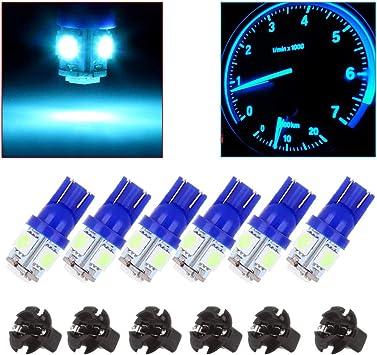 cciyu 10 pcs T10 6-3020-SMD Blue 194 198 LED Bulbs Instrument Panel Dash Light W//Sockets