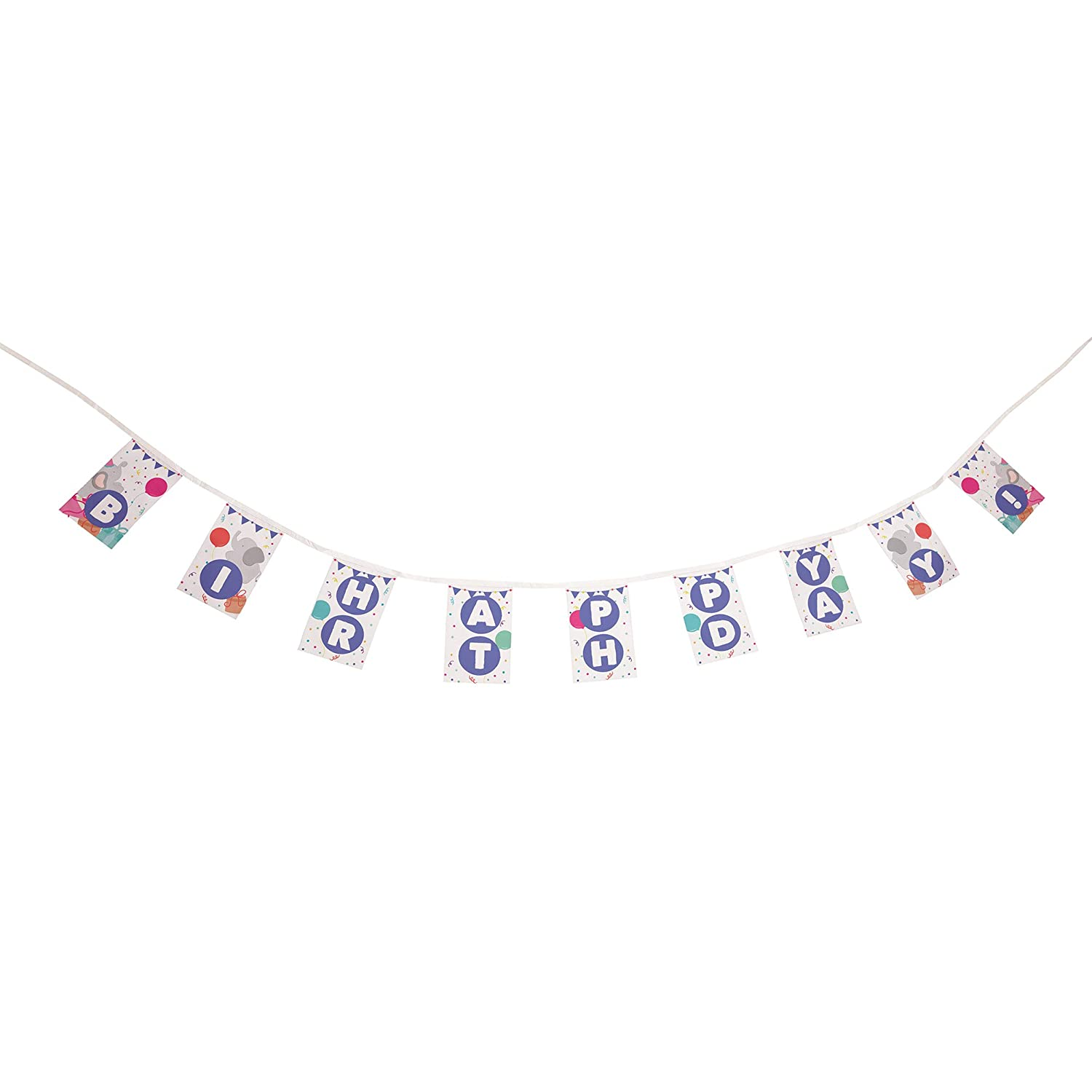 Elephant Themed Fiesta Flags Pennant Banner 10 Feet Long 9 Mini Flags Made of Polyester Cloth Birthday Party Decorations Bunting For Boys Girls