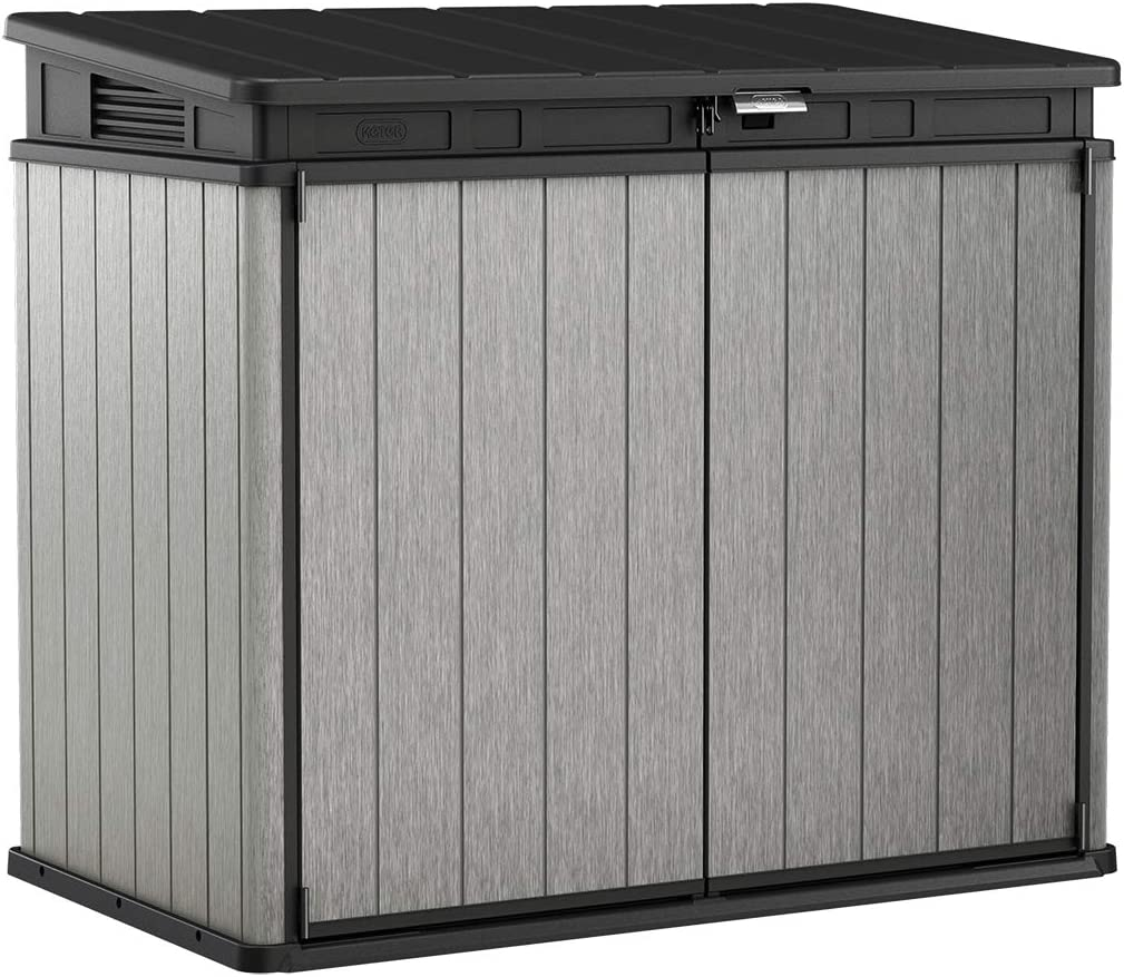Keter Elite Store 4.6 x 2.7 Resin Outdoor Storage Shed with Floor for Trash Cans and Yard Tools, Grey & Black