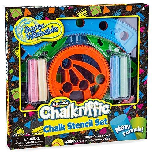 Creative Kids CK-Chalk Sidewalk Chalk Stencils Kit Chalk Mandala Stencil Toy Set with 4 Colored Chalks Multicolor