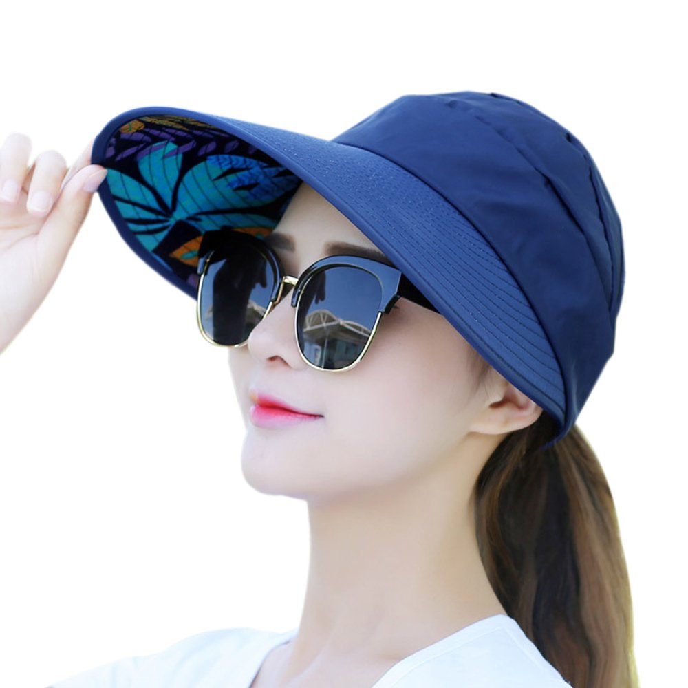 Muryobao Women's Sun Hats Foldable Wide Brim Roll Up Open Top Hat UV Protection Visor Caps For Summer Beach Golf Fishing Outdoor Navy