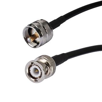 "8 Inch UHF PL259 enchufe macho a BNC macho Plug Jumper Pigtail Cable Coaxial 8 """