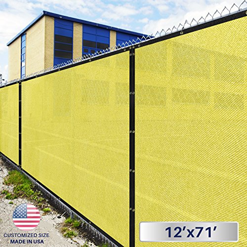 - Windscreen4less Fence Privacy Screen 12' x 71', Canary Yellow, Pergola Shade Cover Patio Canopy Sun Block,180 GSM, 95% Privacy Blockage, Mesh Fabric with Brass Gromment, Customized