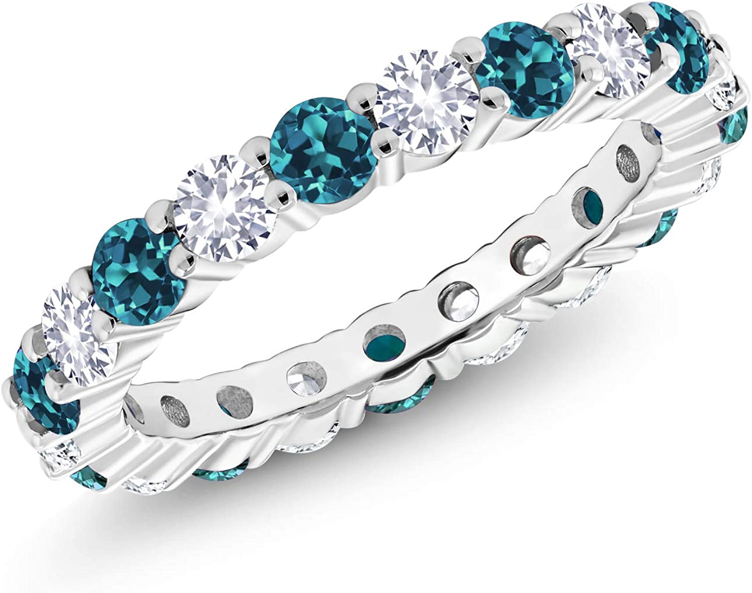 Gem Stone King 1.30 Ct Round London Blue Topaz and White Created Sapphire 925 Sterling Silver Eternity Band Ring