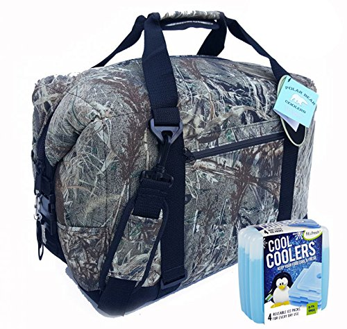 Polar Bear Coolers Nylon Series Soft Cooler Tote Size 24 Pack (Mossy Oak Duck Blind) & Fit & Fresh Cool Coolers Slim Ice 4-Pack (Bundle)