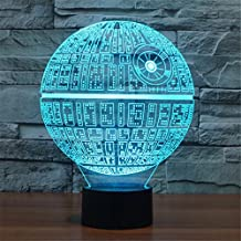 3D Lamp Death Star Table Lamp Optical Illusion Visual Led Night Light for Star Wars, 7 Colors with Acrylic Plate& ABS Base& USB Charge, Touch Sensitive Switch Lights