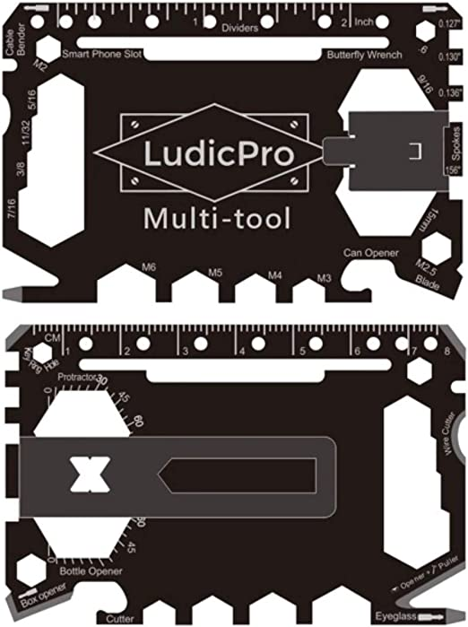 LudicPro Multi-Tool 46 in 1 Multi-Purpose Credit Card Size Wallet Tool with Money Clip