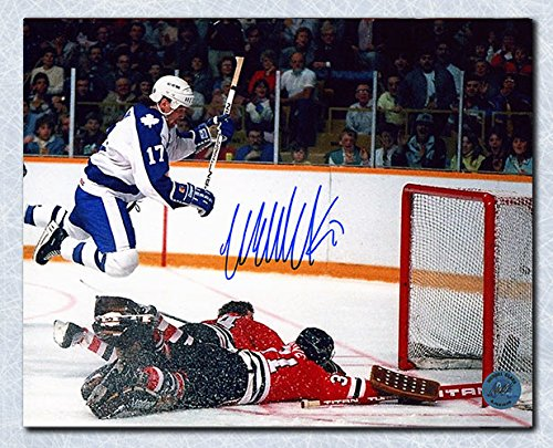Wendel Clark Toronto Maple Leafs Autographed Diving Goal 8x10 Photo
